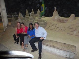 Nisha at Rio+20 with Professor Kyle McDonald and other attendees.