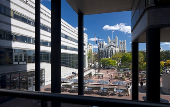 Shepard Hall seen through the North Academic Center plaza at The City College of New York. Photo by Albert Vercerka.