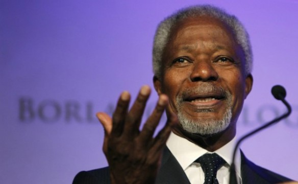 Kofi Annan will deliver a lecture at CCNY on February 8 at 10 a.m. Photo: Creative Commons/Alberto Cabello