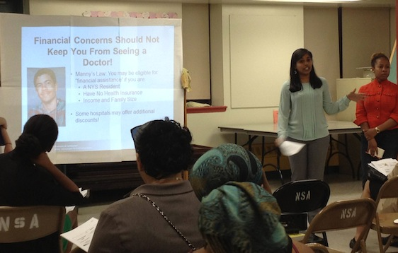 Nur Asfarco-leads a health-care rights workshop. Photo by Sophie Gray
