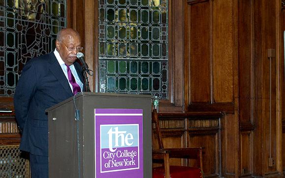 The Reverend Eugene S. Callender speaking at the City College of New York. Reverend Callender passed away on November 2.